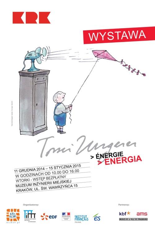 """Tomi Ungerer, """"Energia"""", Muzeum Inżynierii Miejskiej w Krakowie, plakat wystawy (źródło: materiały prasowe organizatora)"""
