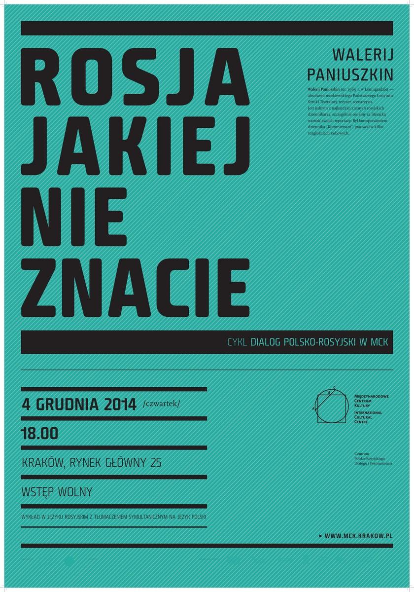 """Walerij Paniuszkin, wykład """"Rosja jakiej nie znacie"""", plakat (źródło: materiały prasowe organizatora)"""