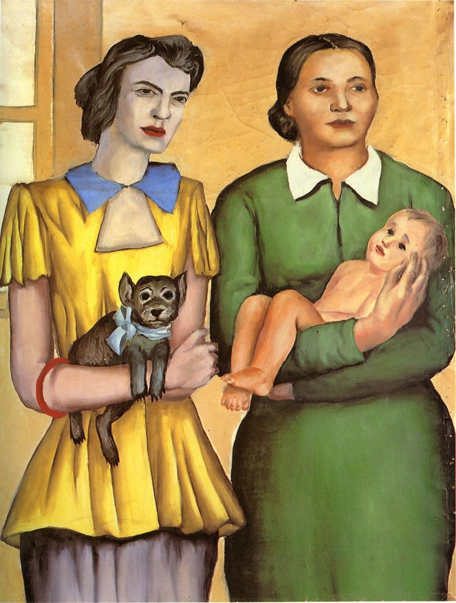 """Andrzej Wróblewski, """"Dwie mężatki"""",1949; 113,5 x 90 (123 x 96 x 5); olej; płótno, nr inw. rej.781/14 (źródło: materiały prasowe organizatora)"""