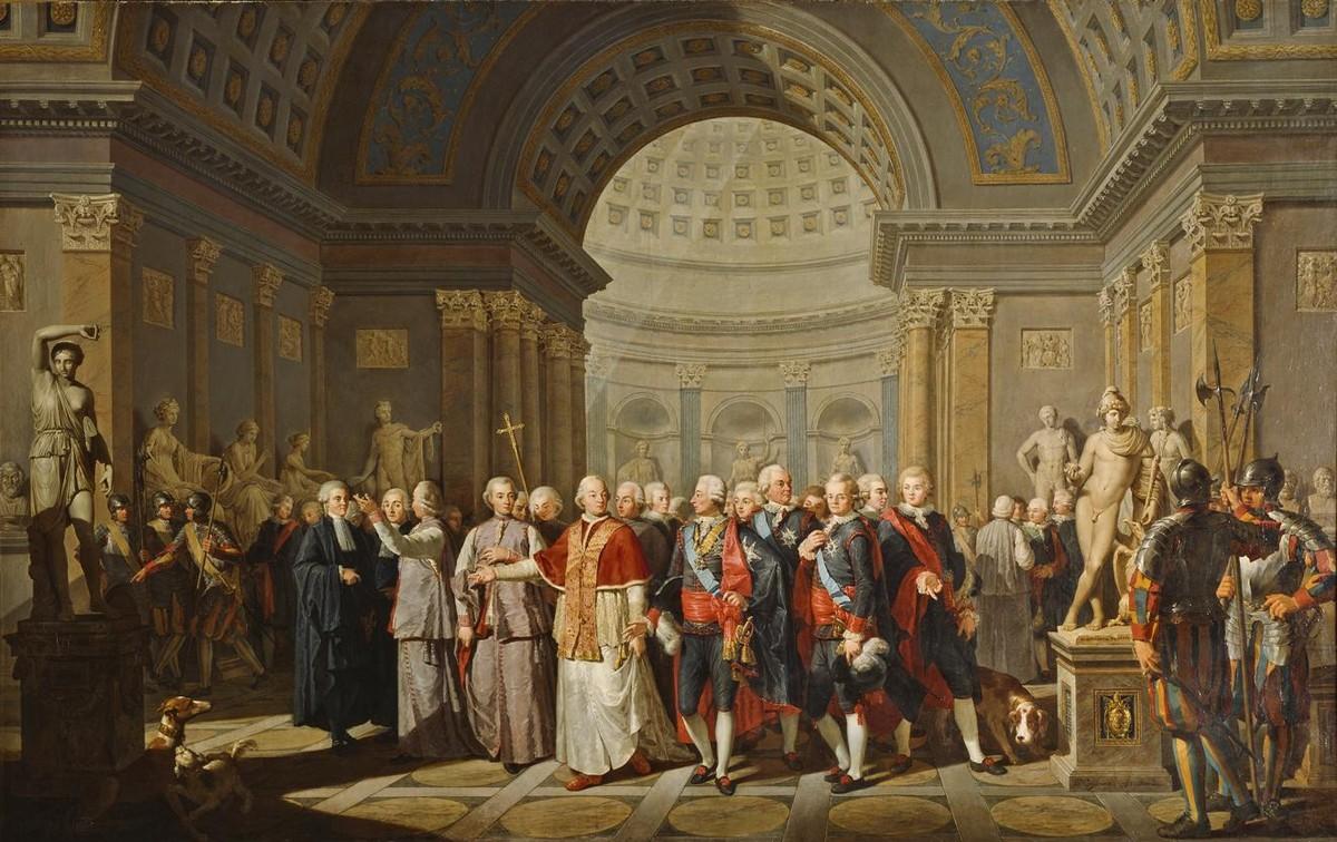 """Bénigne Gagneraux, """"Papież Pius VI pokazuje królowi Gustawowi III Galerie Watykańskie"""", 1785, Nationalmuseum w Sztokholmie, fot. Erik Cornelius (źródło: materiały prasowe)"""