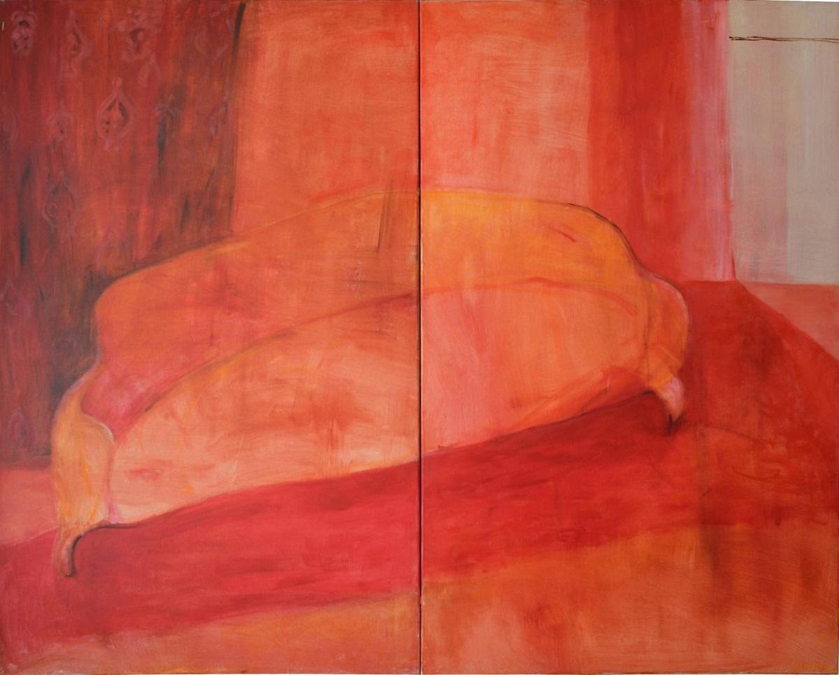 """Julia Olech Nowak, """"Kanapa"""", 2004, akryl, płótno, 160 x 200 cm (źródło: materiały prasowe organizatora)"""