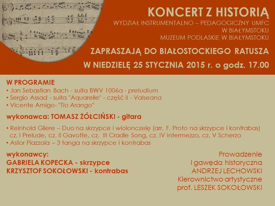 """""""Koncert z historią"""", plakat (źródło: materiały prasowe)"""