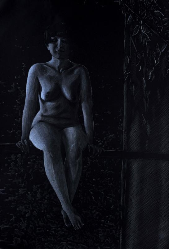 """Marta Gałecka, """"Akt księżycowy"""", srebrna i biała kredka świecowa, 61x86 cm, 2013 (źródło: materiały prasowe organizatora)"""
