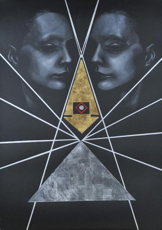"""Marta Gałecka, """"Bez tytułu"""", suchy pastel i szlagmetal na czarnym papierze, 100x70cm, 2014 (źródło: materiały prasowe organizatora)"""