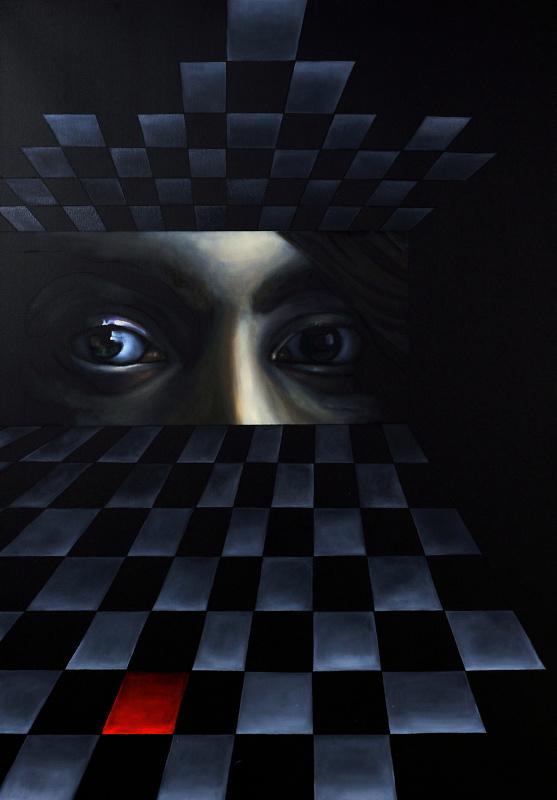 """Marta Gałecka, """"To nie jest gra w szachy"""", technika mieszana,100x70 cm, 2014 (źródło: materiały prasowe organizatora)"""