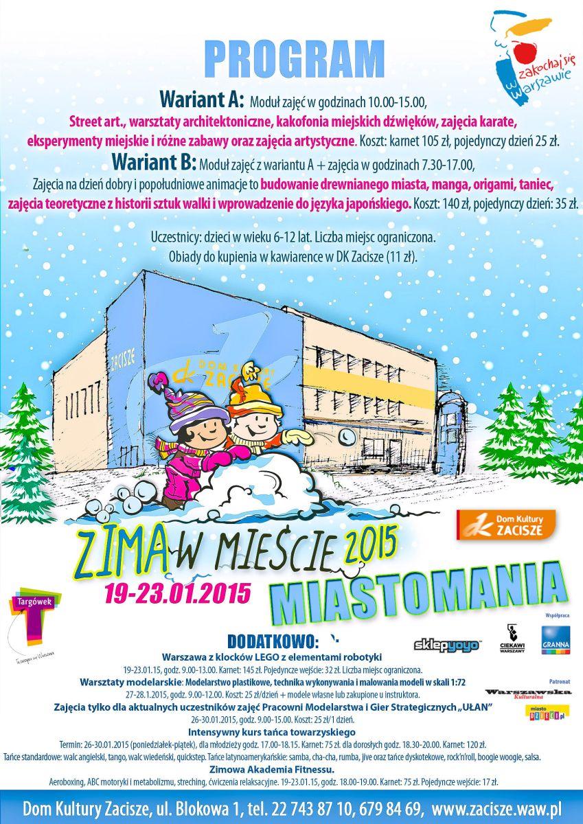 """Zima w mieście: """"Miastomania"""", plakat (źródło: materiały prasowe)"""