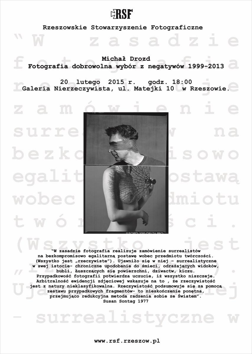 Wystawa fotografii Michała Drozda, Galeria Nierzeczywista w Rzeszowie, plakat (źródło: materiały prasowe organizatora)