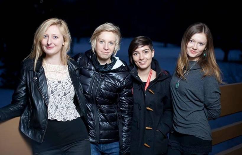 """Ekipa filmu """"Obiekt"""" i Studia Munka-SFP Katarzyna Boniecka, Paulina Skibińska, Katarzyna Szczerba, Michalina Fabijańska, przed Galą w Sundance/ fot. Cinema Other (źródło: materiały prasowe studia)"""