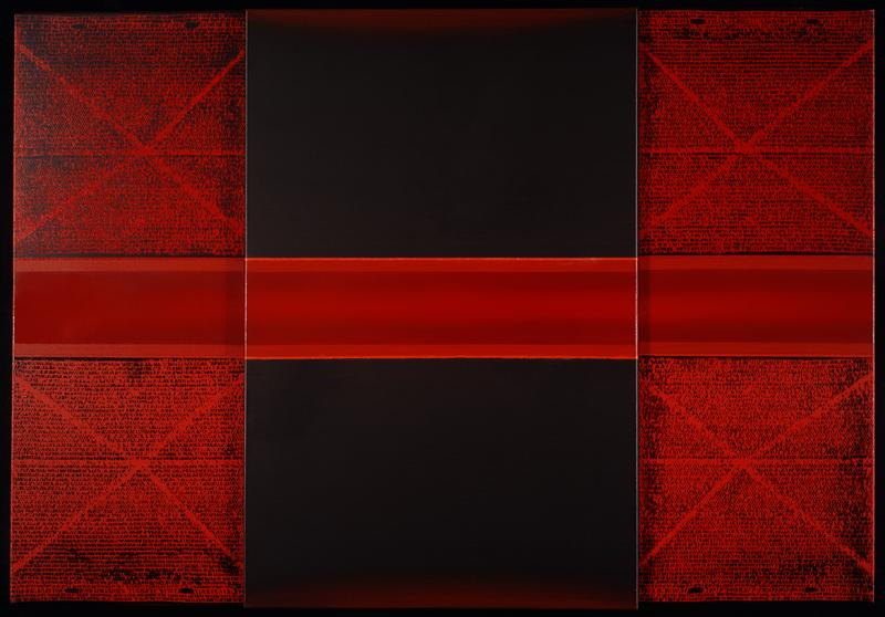 """Piotr Błażejewski, """"Epitafium II"""", 2012, 100x146 cm, akryl, olej (źródło: materiały prasowe organizatora)"""