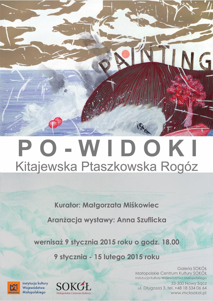"""Wystawa """"Po-widoki"""", Galeria SOKÓŁ w Nowym Sączu, plakat (źródło: materiały prasowe organizatora)"""