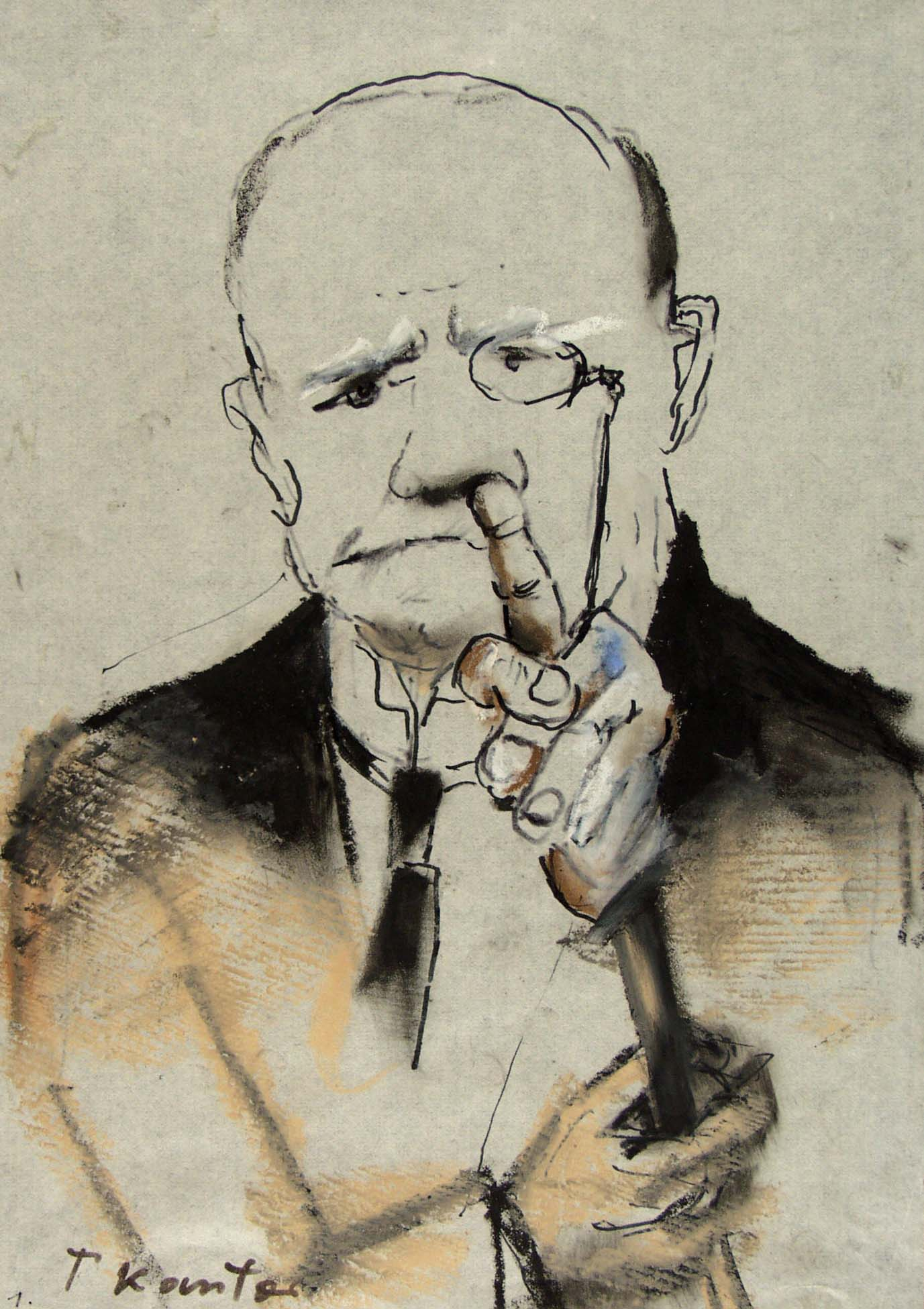 """Bez tytułu, z serii: """"Ci poważni panowie"""" (1983) pastel, flamaster, akryl, papier naklejony na karton, 30x21 sygn.l.d.: T. Kantor (źródło: materiały prasowe organizatora)"""
