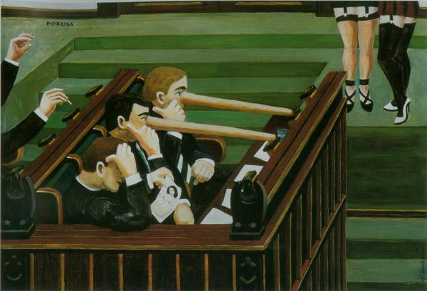 """Anna Wojsznis, """"Pokusa"""", olej na płycie, 2003, Kolekcja Regionalna Zachęty Sztuki Współczesnej w Szczecinie (źródło: materiały prasowe organizatora)"""