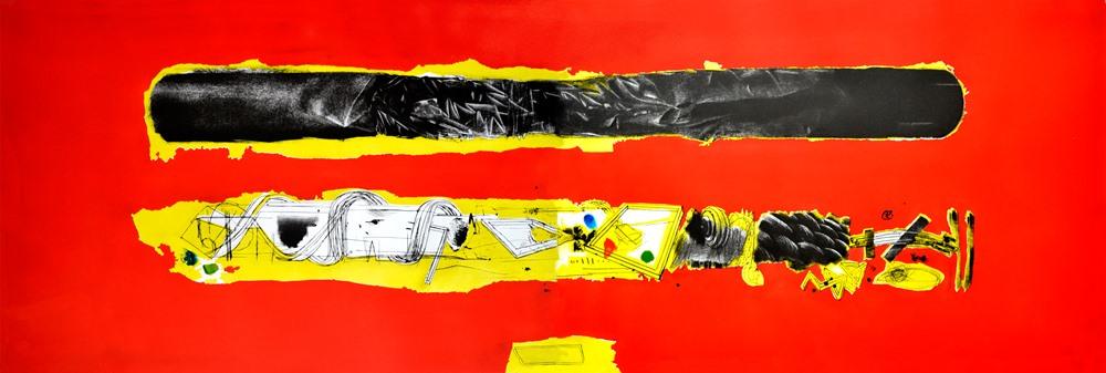 """Henryk Ożóg, """"Defiguracja I"""", 67x 200 cm, 2014, sucha igła, mezzotinta, korund, szablon (źródło: materiały prasowe organizatora)"""