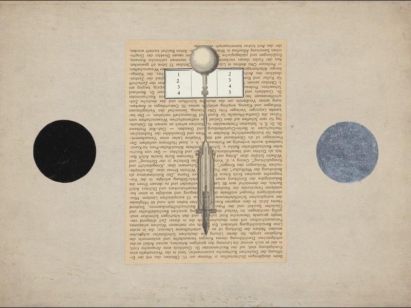 Marian Warzecha, Bez tytułu, 1949, kolaż, 22,8x30,5 cm, archiwum Galerii Starmach (żródło: materiały prasowe organizatora)