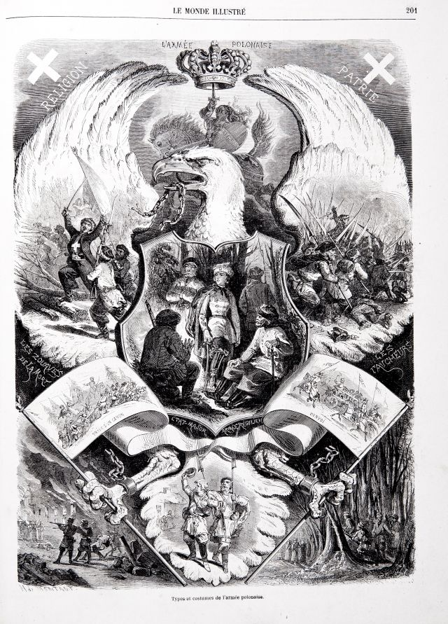 """Armia polska"", Charles Maurand wg rysunku Henry'ego de Montaut, ""Le Monde Illustré"" 28 marca 1863 roku (źródło: materiał prasowy organizatora)"