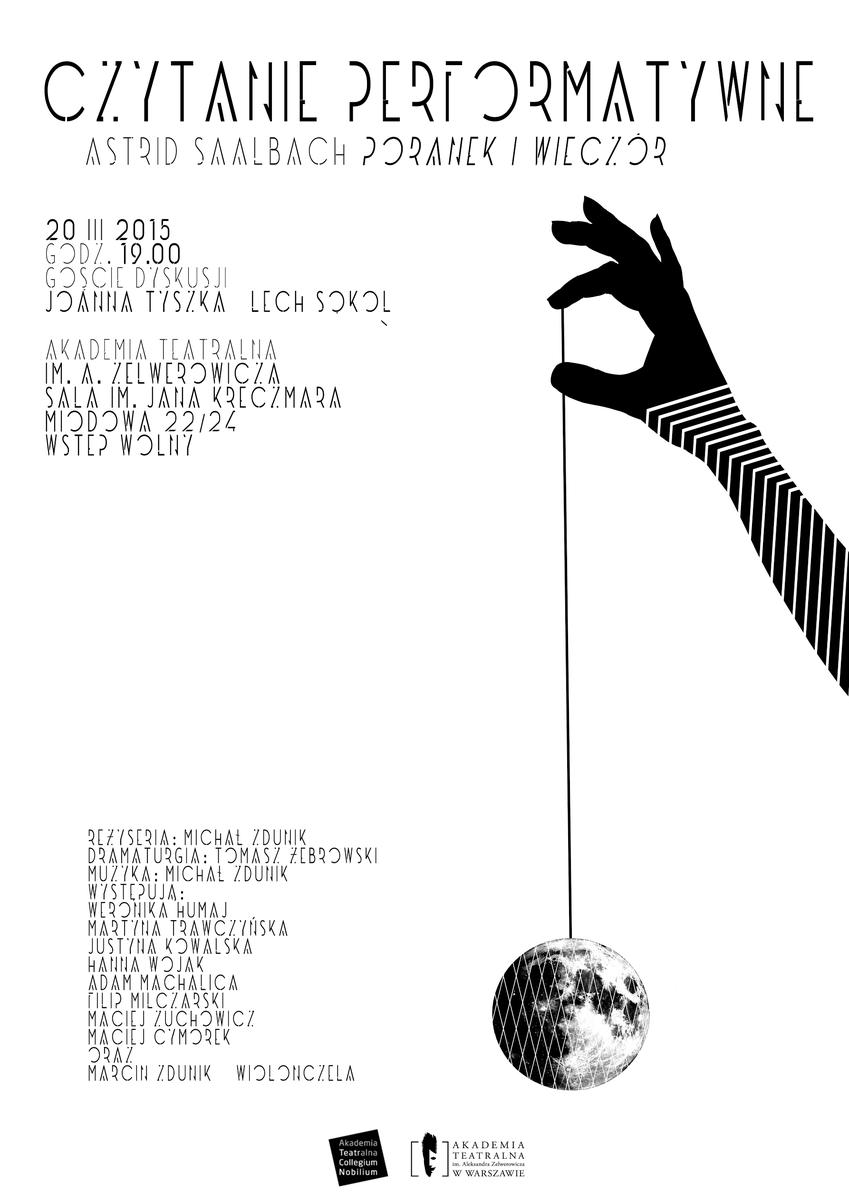 Czytanie performatywne, plakat (źródło: materiały prasowe organizatora)