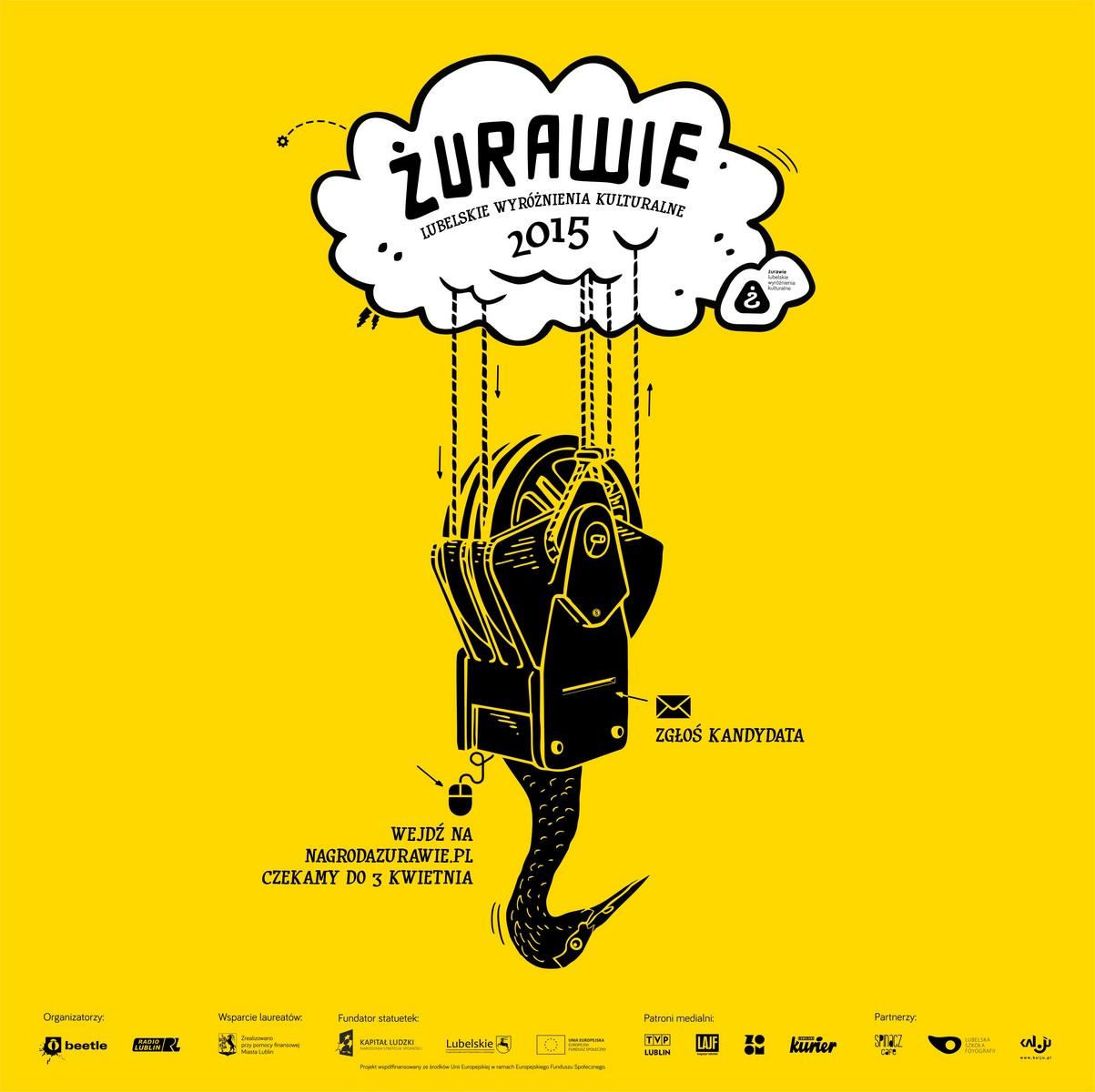 """Nagroda """"Żurawie – Lubelskie Wyróżnienia Kulturalne 2015"""" – plakat (źródło: materiały prasowe)"""