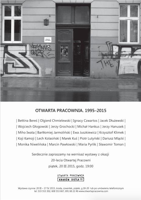 """Wystawa """"Otwarta Pracownia. 1995-2015"""", plakat (źródło: materiały prasowe organizatora)"""