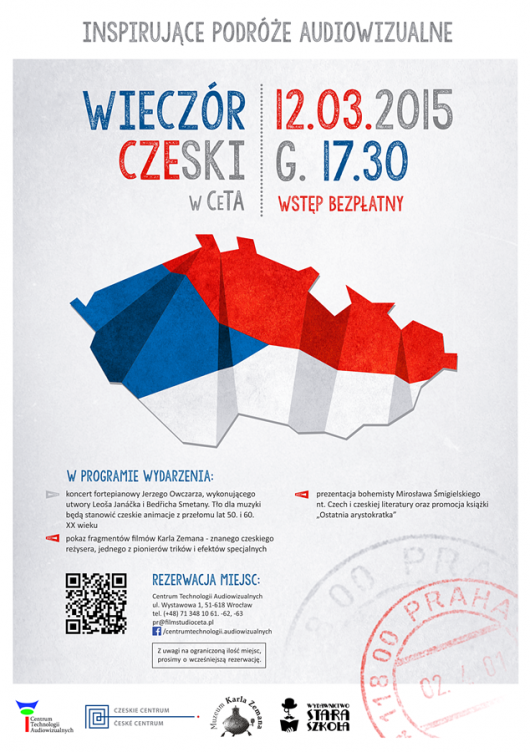 """Plakat wydarzenia """"Inspirujące podróże audiowizualne – czyli wieczór czeski"""" (źródło: materiały prasowe organizatora)"""