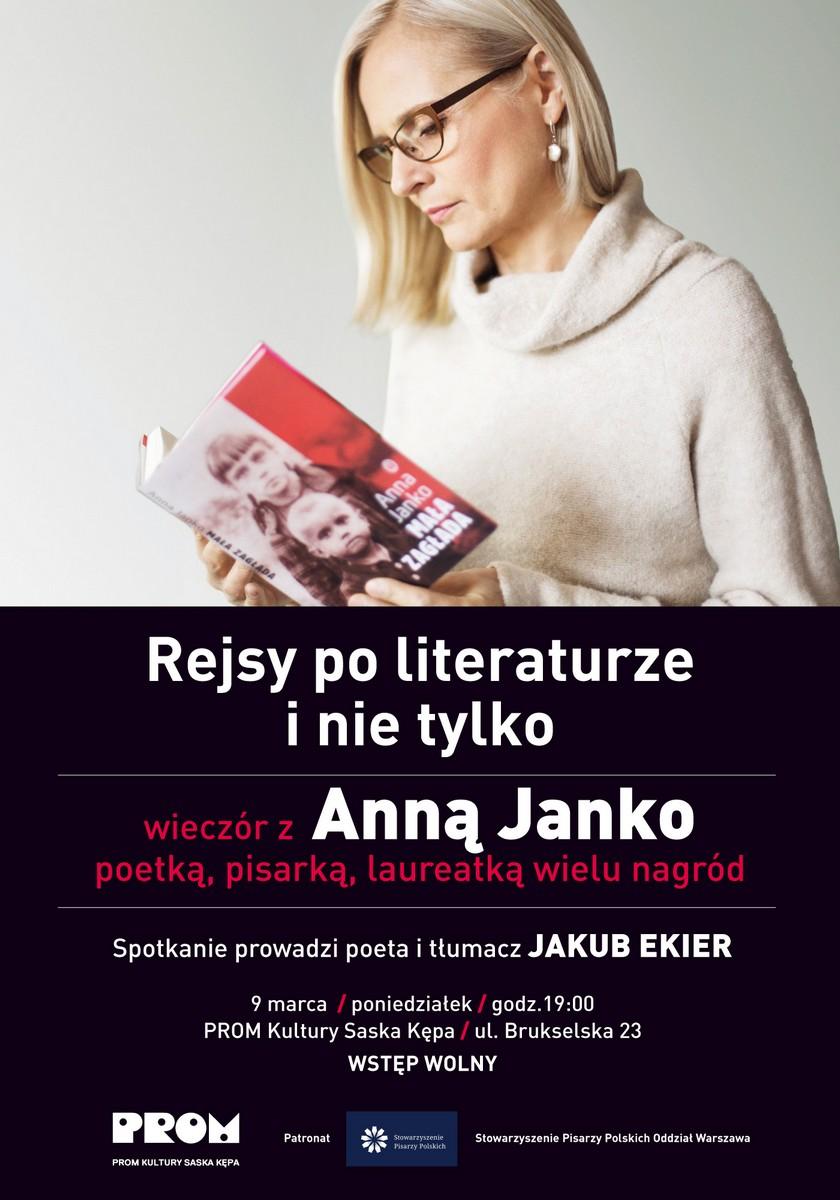 """""""Rejsy po literaturze i nie tylko"""" – Anna Janko, plakat (źródło: materiały prasowe)"""
