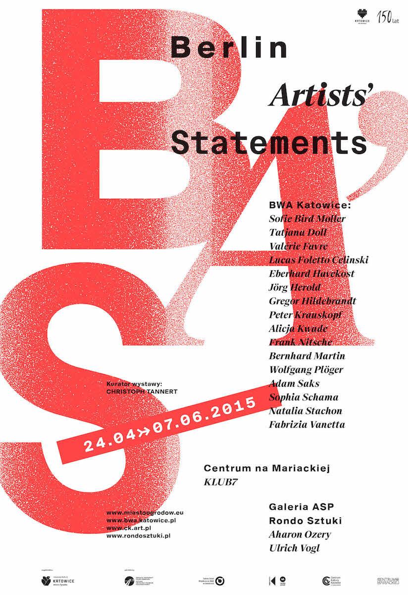 """Wystawa """"Berlin Artists Statements"""", plakat (źródło: materiały prasowe organizatora)"""