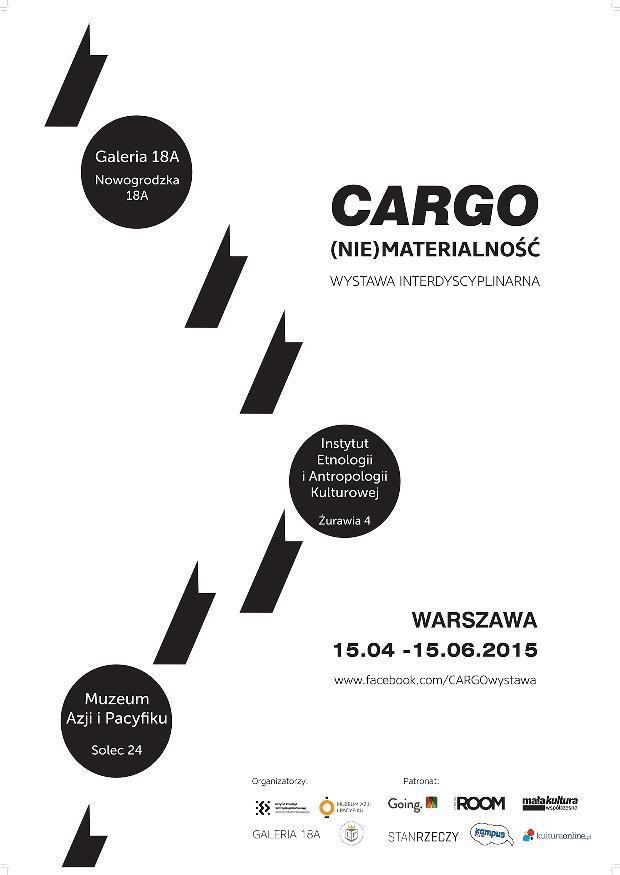 """Wystawa """"Cargo / (nie)materialność"""" – plakat (źródło: materiał prasowy organizatora)"""