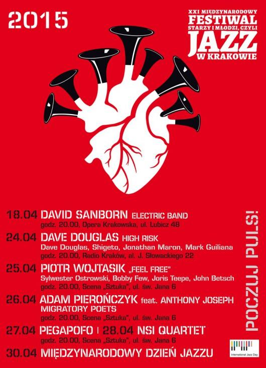 """XXI Międzynarodowy Festiwal """"Starzy i młodzi, czyli jazz w Krakowie"""", plakat (źródło: materiały prasowe)"""