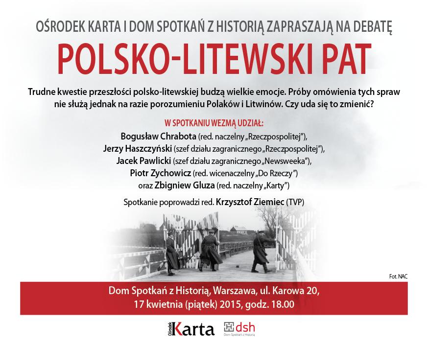 """Debata """"Polsko-litewski pat"""" – zaproszenie (źródło: mat. pras. Ośrodka Karta)"""