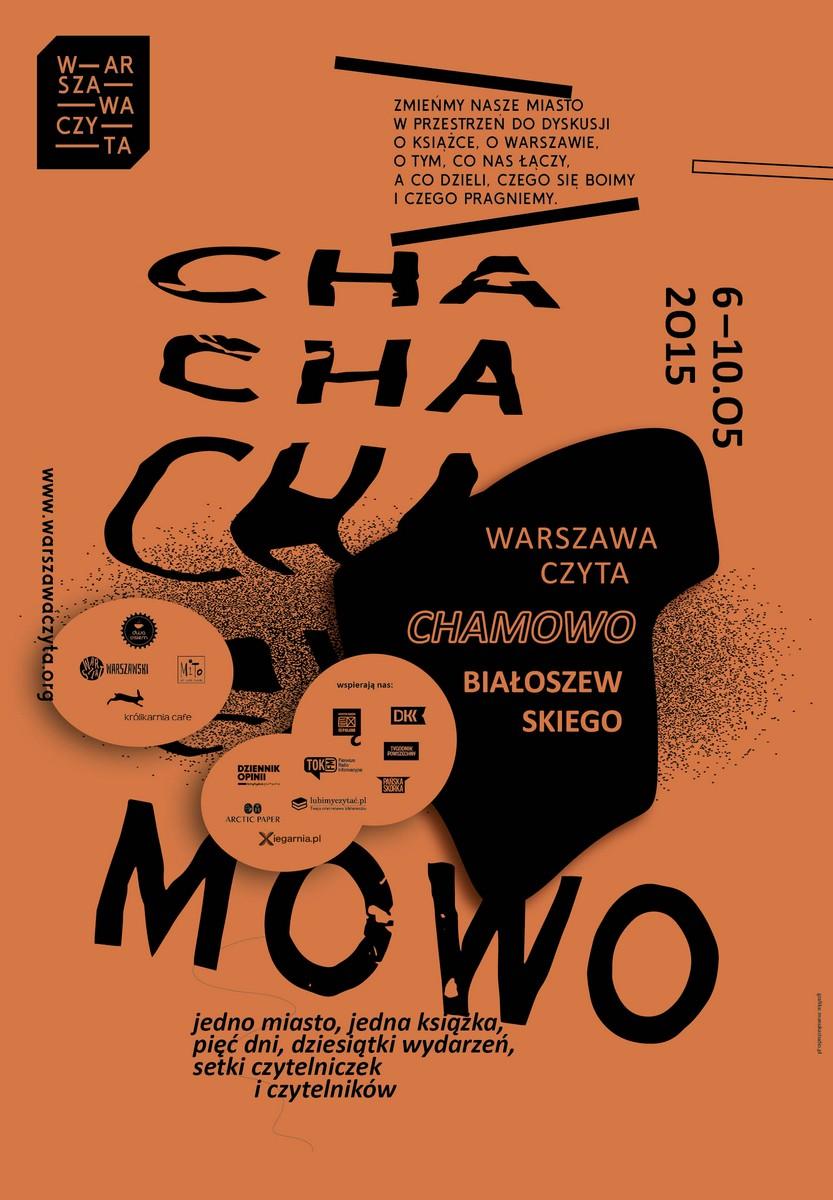 """Warszawa Czyta """"Chamowo"""" Mirona Białoszewskiego – plakat (źródło: materiały prasowe)"""