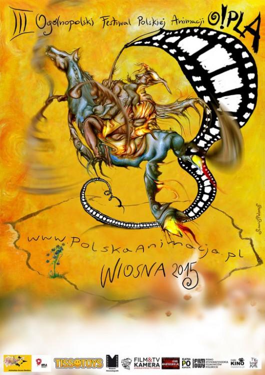 Plakat Trzeciego Ogólnopolskiego Festiwalu Animacji O!PLA (źródło: materiały prasowe organizatora)