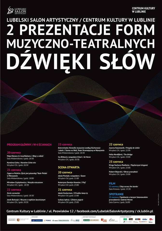 """Prezentacje Form Muzyczno-Teatralnych """"Dźwięki słów"""", plakat (źródło: materiały prasowe)"""