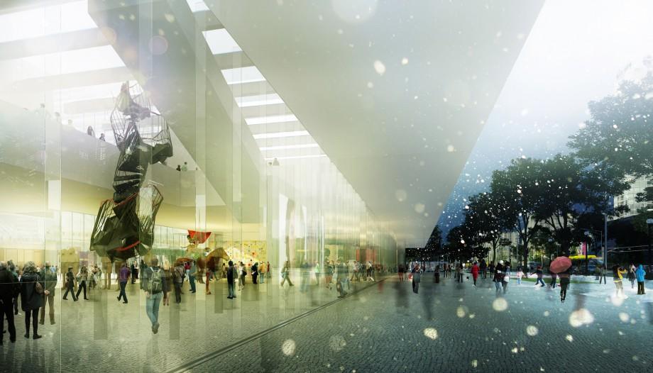 Widok wewnętrznego placu łączącego MSN i Teatr TR z pl. Defilad, (źródło: materiały prasowe)
