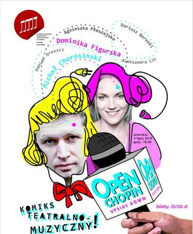 """""""Open Chopin: upside-down"""" – plakat, Teatr Muzyczny w Toruniu (źródło: materiały prasowe)"""