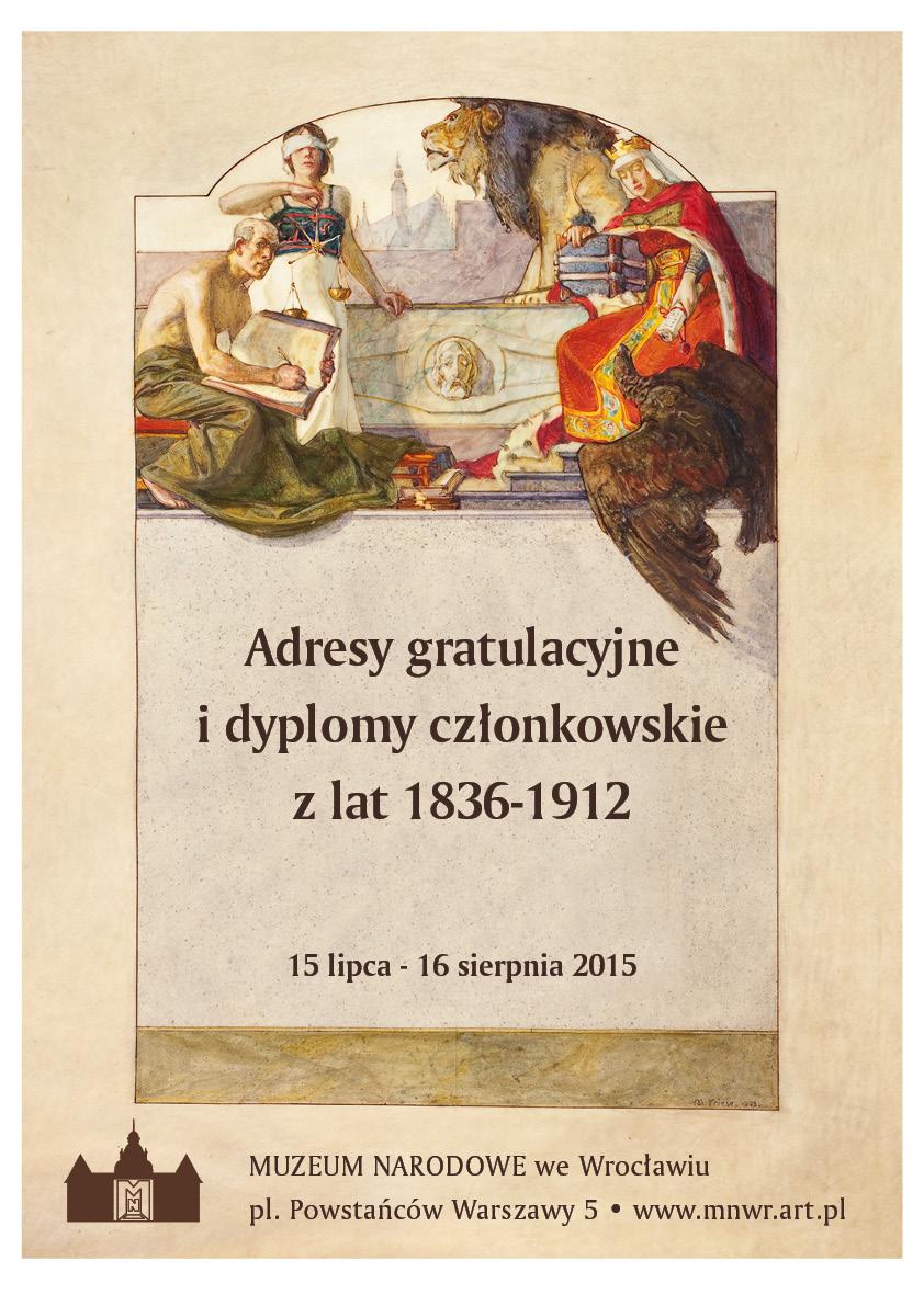 """""""Adresy gratulacyjne i dyplomy członkowskie z lat 1836–1912"""" – plakat (źródło: materiały prasowe organizatora)"""