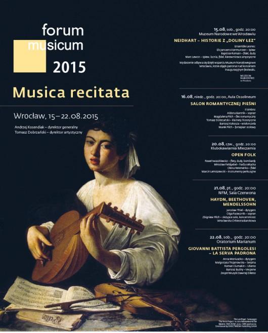 Forum Musicum 2015: Musica recitata – plakat (źródło: materiał prasowy organizatora)