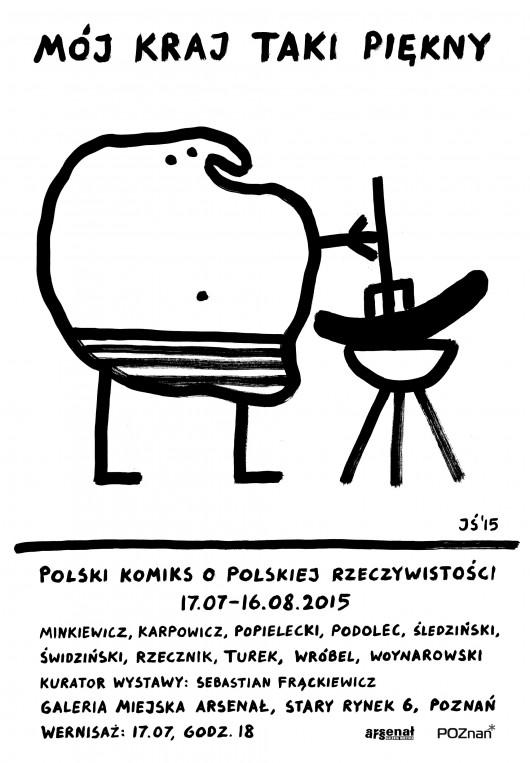 """Wystawa """"Mój kraj taki piękny. Polski komiks o polskiej rzeczywistości"""", plakat (źródło: materiały prasowe organizatora)"""