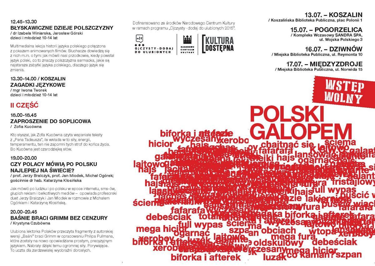 """""""Język polski galopem – wakacje z ojczystym"""" – ulotka (źródło: materiały prasowe)"""