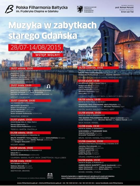 Muzyka w Zabytkach Starego Gdańska – plakat (źródło: materiały prasowe organizatora)