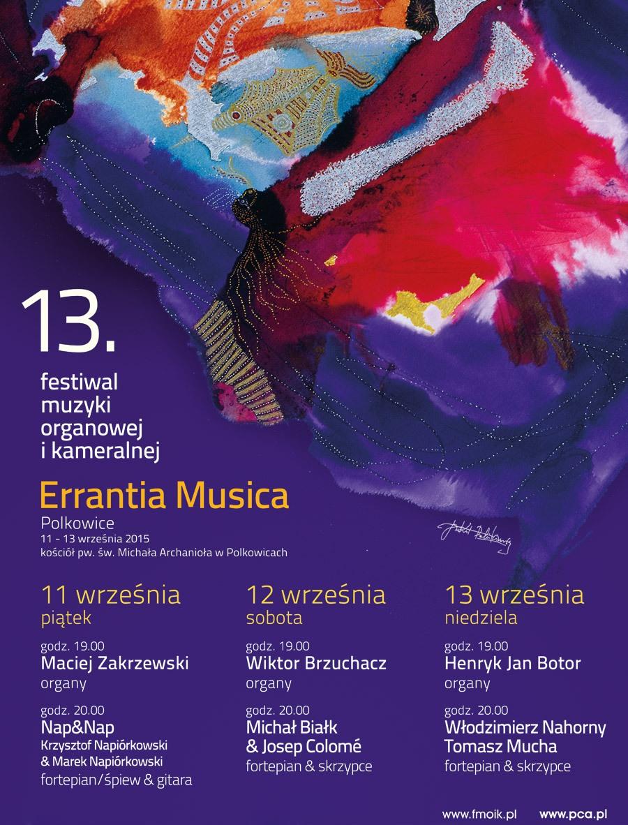 13. Festiwal Muzyki Organowej i Kameralnej Errantia Musica – plakat projektu Jana Kantego Pawluśkiewicza (źródło: materiały prasowe organizatora)