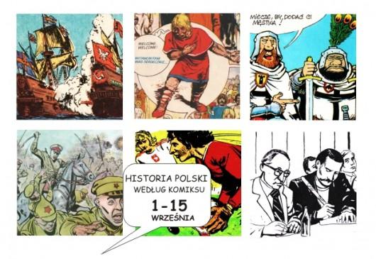 """""""Historia Polski według komikus"""", Muzeum Zamek w Oświęcimu, plakat (źródło: materiały prasowe organizatora)"""
