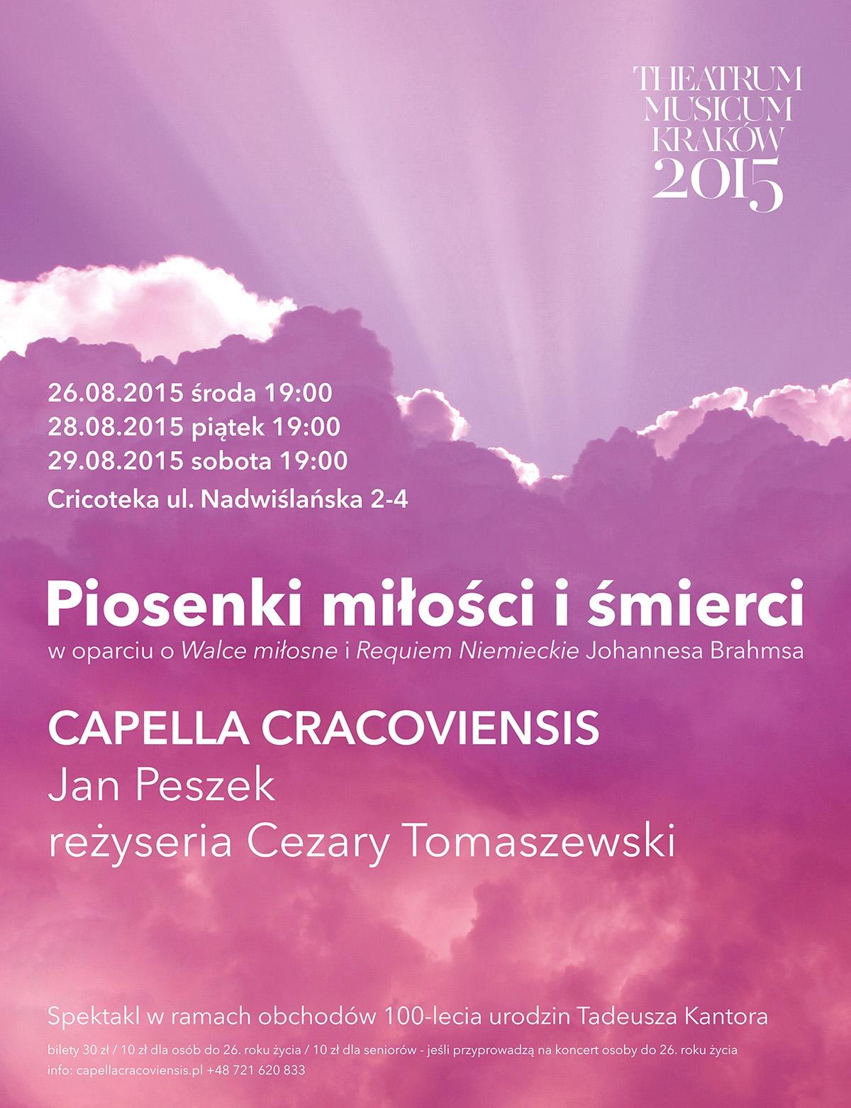 """""""Piosenki miłości i śmierci"""", Theatrum Musicum Kraków 2015 – plakat (źródło: materiały prasowe)"""