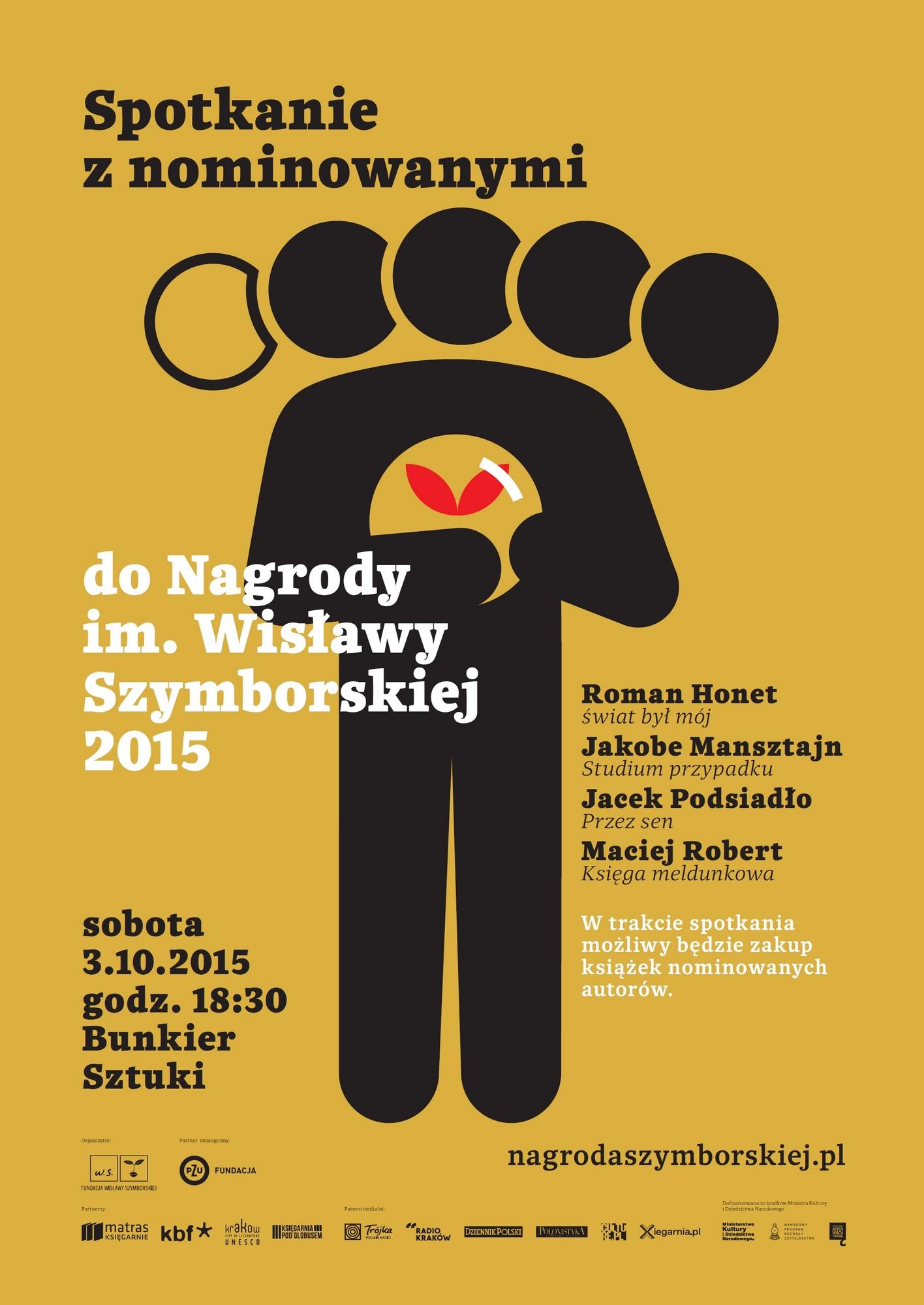 Spotkanie z nominowanymi do Nagrody im. Wisławy Szymborskiej – plakat (źródło: materiały prasowe organizatora)