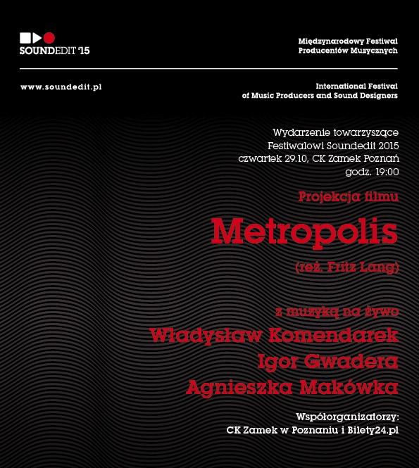 """Projekcja filmu """"Metropolis"""" z muzyką na żywo – plakat (źródło: materiały prasowe)"""