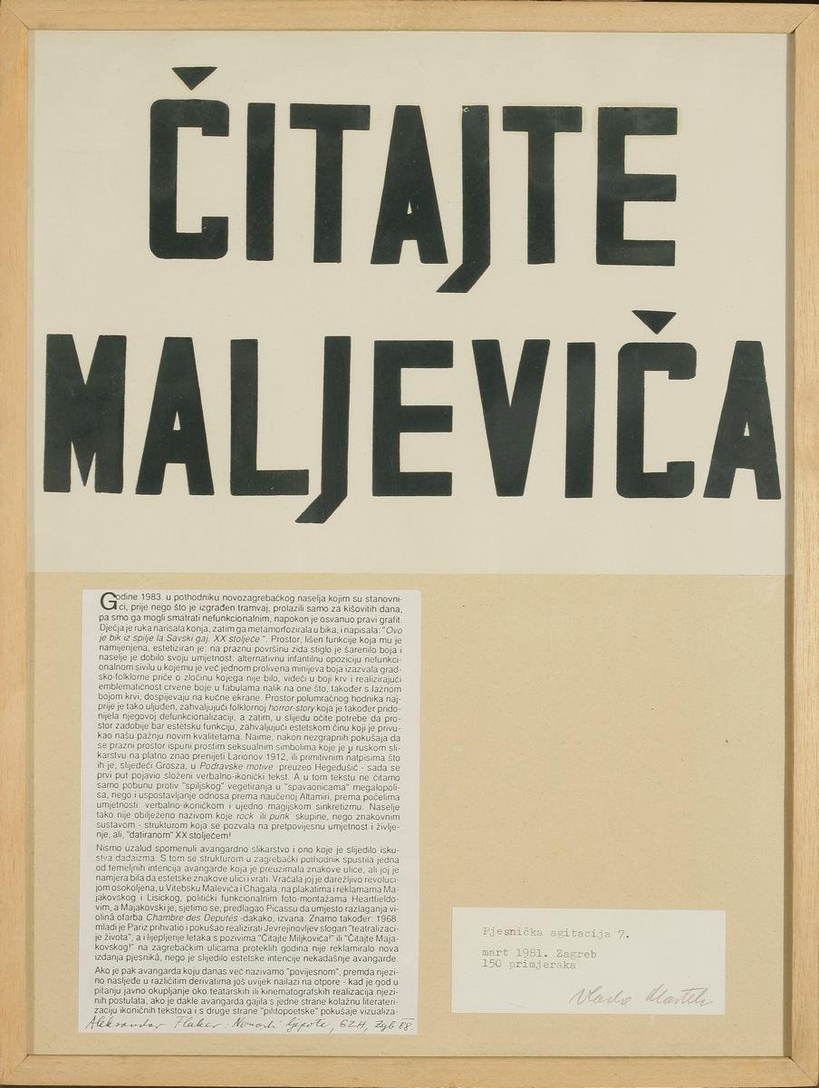 """Vlado Martek, z cyklu """"Agitacja poetycka 7"""", """"Czytajcie Malewicza"""", 1981 (źródło: materiały prasowe organizatora)"""
