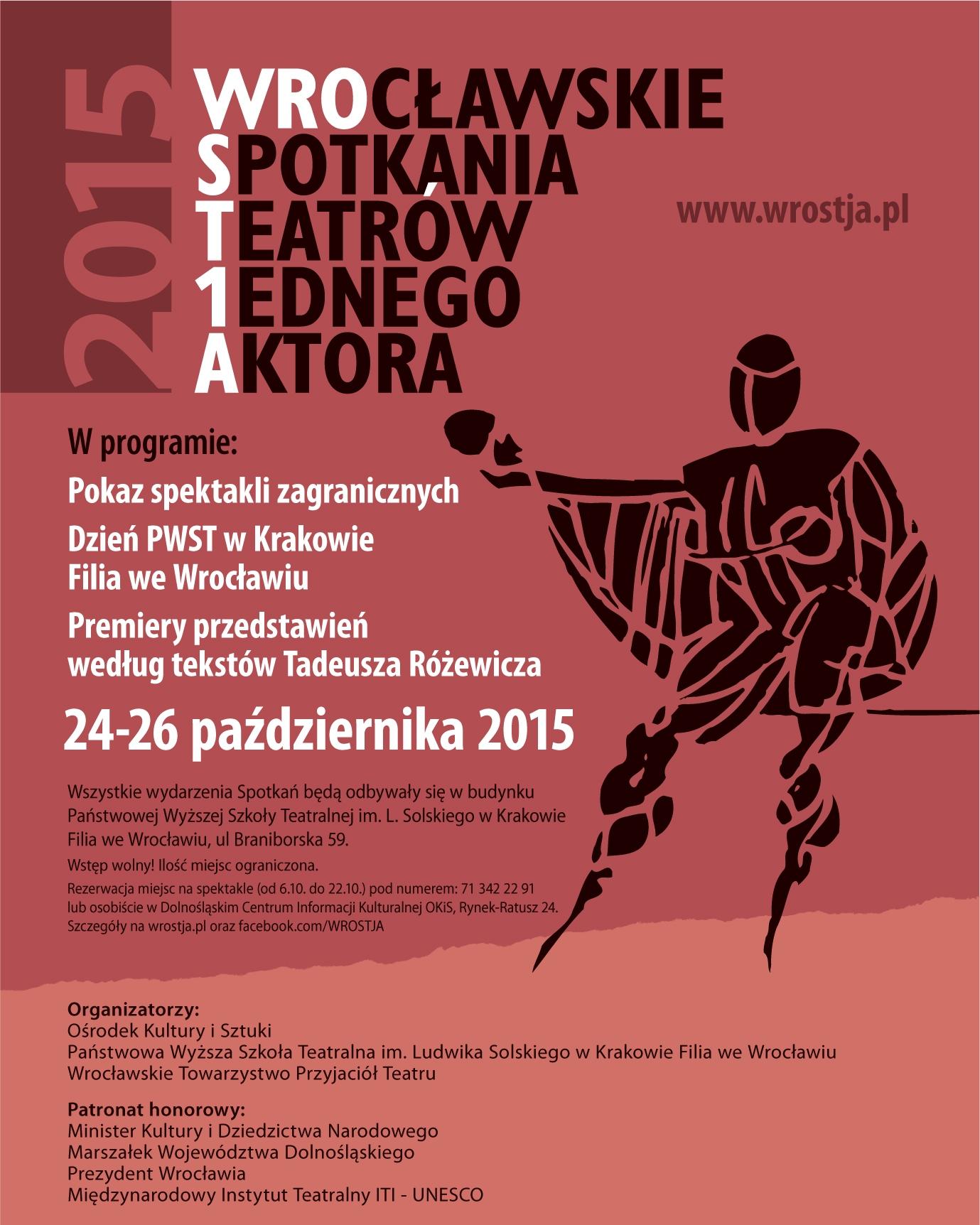 49. Wrocławskie Spotkania Teatrów Jednego Aktora – plakat (źródło: materiały prasowe organizatora)