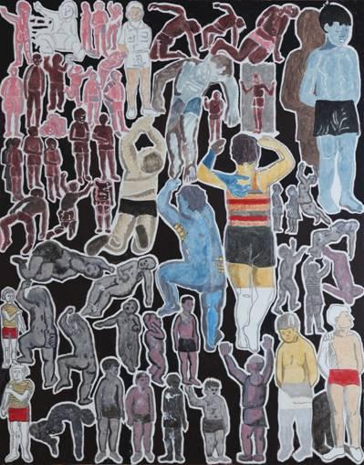 """Marek Sobczyk, """"Chłopiec w gimnastycznych majtkach (Socrealizacja)"""", 2015 (źródło: materiały prasowe organizatora)"""