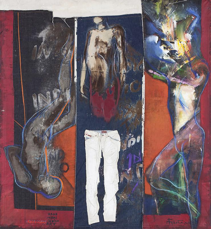 """Mariusz Mikołajek, """"Obraz 9. Białe spodnie"""", z cyklu """"Hand Made Indigo Art"""", 2009 (źródło: materiały prasowe organizatora)"""