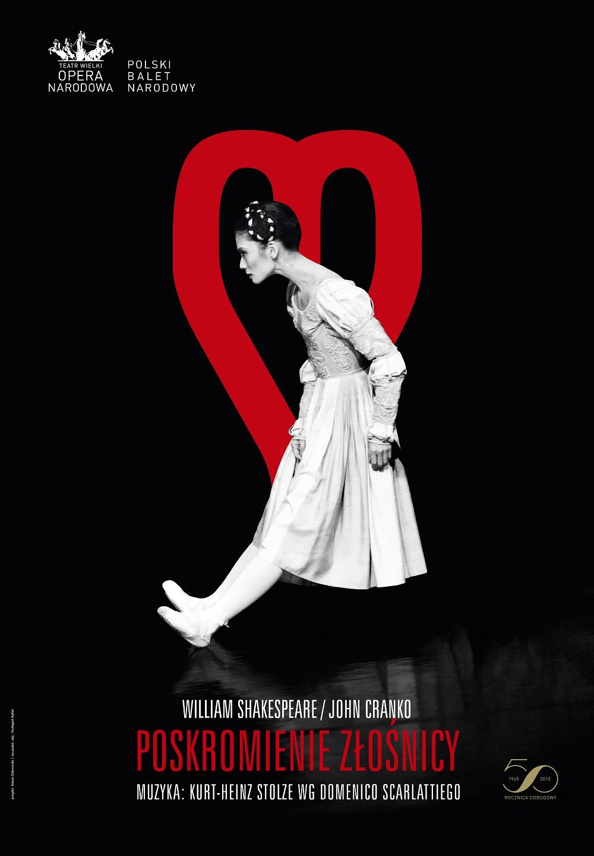 """""""Poskromienie złośnicy"""" – plakat Adama Żebrowskiego według zdjęcia udostępnionego przez Stuttgart Ballet z Sue Jin Kang w roli Katarzyny (źródło: materiały organizatora)"""
