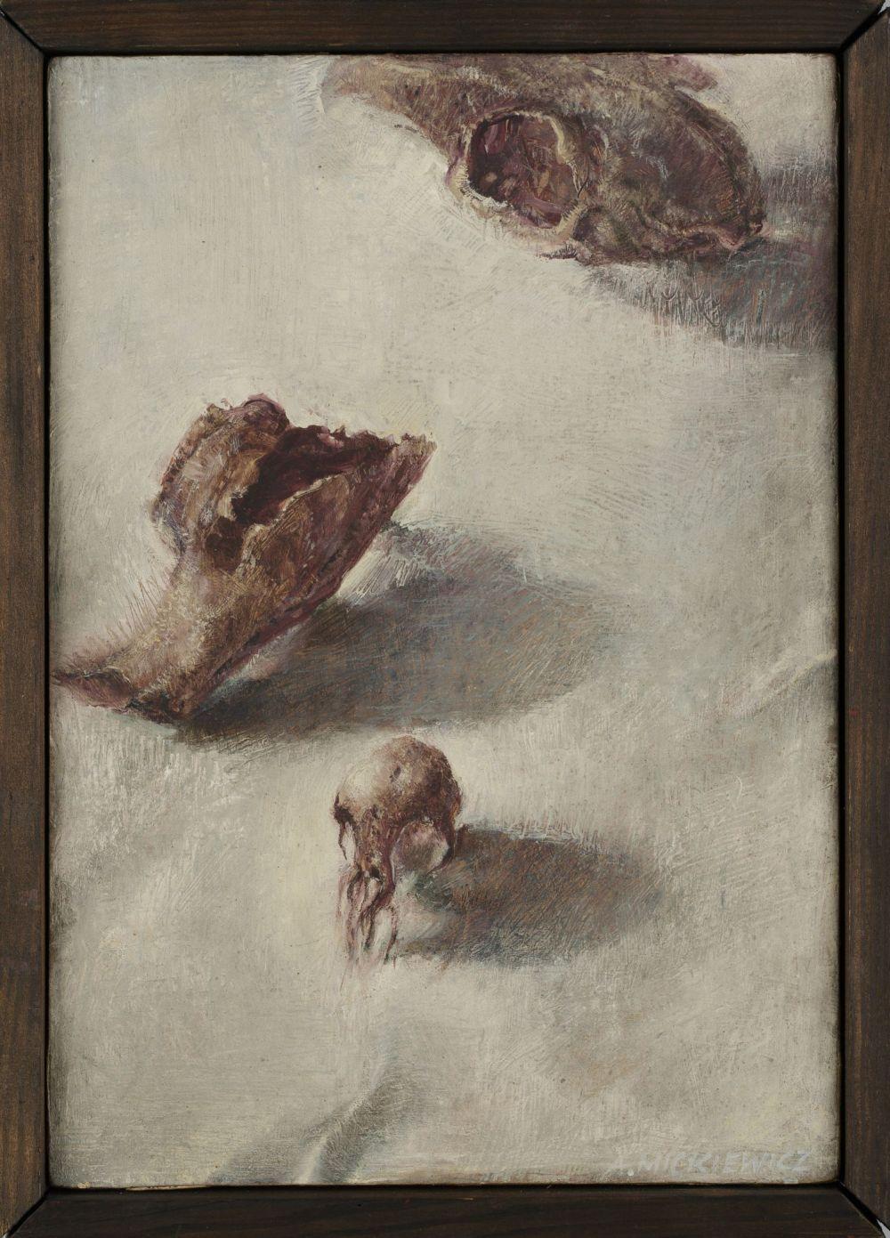 """Aldona Mickiewicz, """"Czaszka"""", 1984, olej , deska, własność artystki (źródło: materiały prasowe)"""