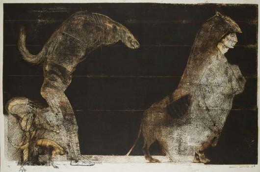 """Andrzej Kapusta, """"Machismo"""", 1985, monotypia ze zbiorów Muzeum Górnośląskiego w Bytomiu (źródło: materiały prasowe)"""
